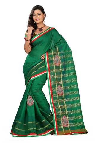 Green Color Poly Cotton Saree - Cotton06