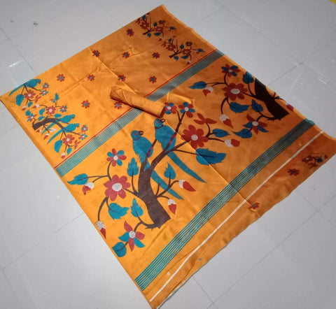 Orange Color Soft Strawberry Silk Saree - CraftArtSilk-07