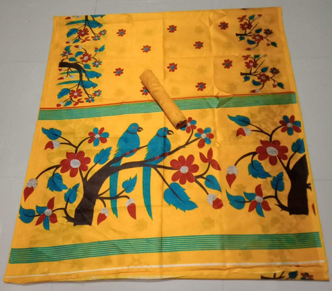 Yellow Color Soft Strawberry Silk Saree - CraftArtSilk-09