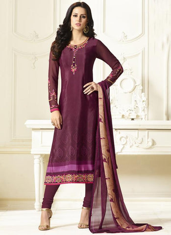DarkPink Color French Crepe Semi Stitched Salwar - Crepina2-9082