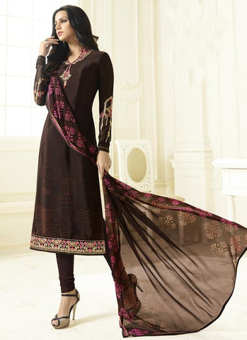 Brown Color French Crepe Semi Stitched Salwar - Crepina2-9086
