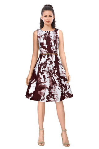 Maroon Color Crepe Women's Dress - D-125_Vivo_Maroon