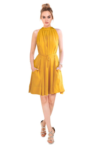 Yellow Color Crepe Women's Dress - D-126_Cruze_Yellow