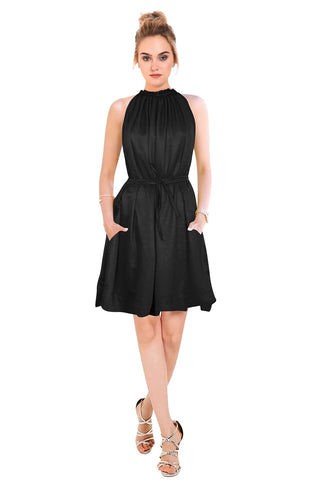 Black Color Crepe Women's Dress - D-127_Cruze_Black