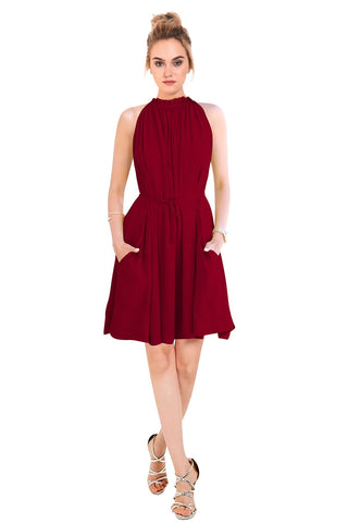 Maroon Color Crepe Women's Dress - D-130_Cruze_Maroon