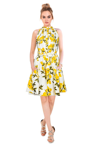 Yellow Color Crepe Women's Dress - D-137_Cruze_Lemon_Yellow