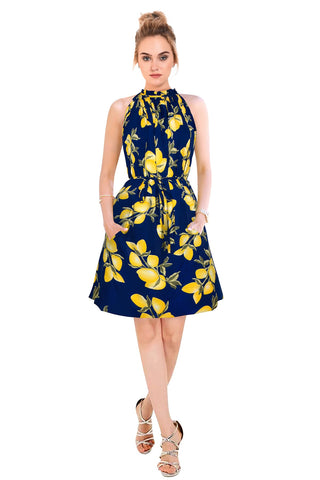 Blue Color Crepe Women's Dress - D-138_Cruze_Lemon_Blue