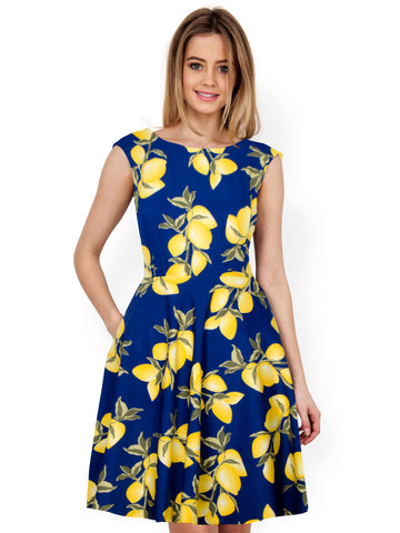 Blue Color Creap Women's Dress - D-146_Lemon_Blue