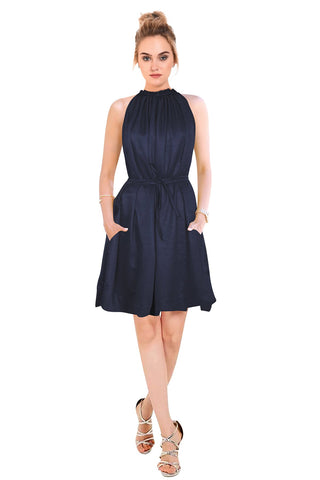 Blue Color Crepe Women's Dress - D-147_Cruze_Blue