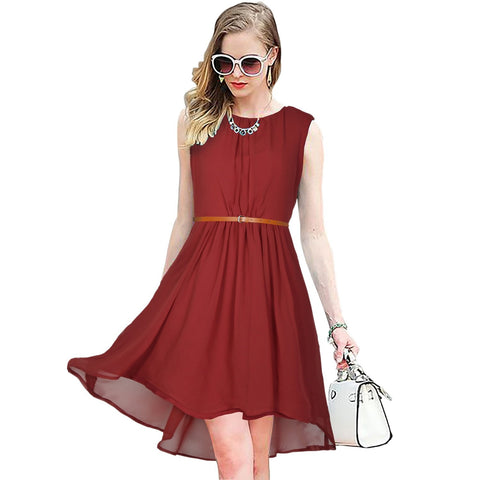 Maroon Color Georgette Women's Dress - D-151_Sydney_Maroon