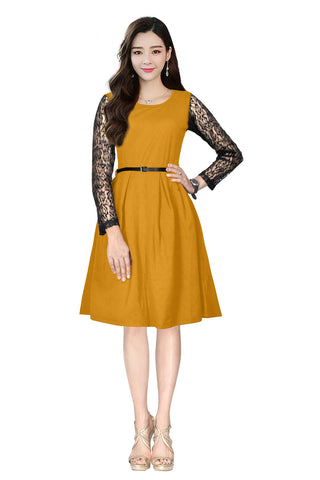 Yellow Color Crepe and Rasal Women's Dress - D-165_Oppo_Yellow