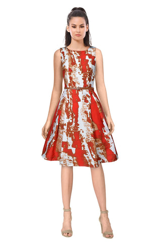 Red Color Crepe Women's Dress - D-166_Vivo_Red