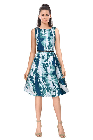 Green Color Crepe Women's Dress - D-167_Vivo_Green