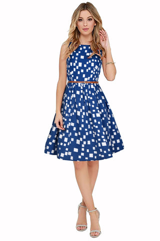 Blue Color Crepe Women's Dress - D-178_Highway_Blue