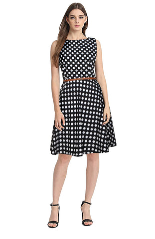 Black Color Crepe Women's Dress - D-184_Irish_Black