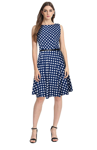 Blue Color Crepe Women's Dress - D-185_Irish_Blue