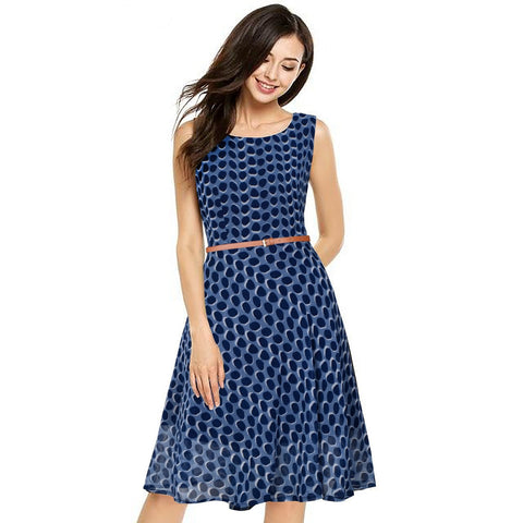 Blue Color Georgette Women's Dress - D-188_Strawberry_Blue