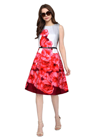 Red Color Banglori Satin Silk Women's Dress - D-194_Eliza_Red