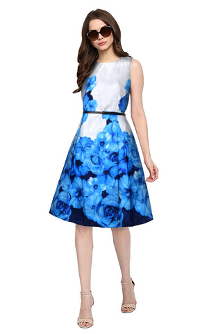 Blue Color Banglori Satin Silk Women's Dress - D-196_Eliza_Blue