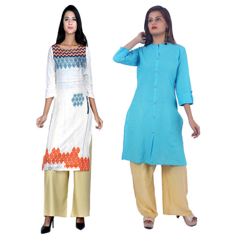 COMBOS-Cotton Stitched Kurtis  - D-22-FB-Sky-Blue