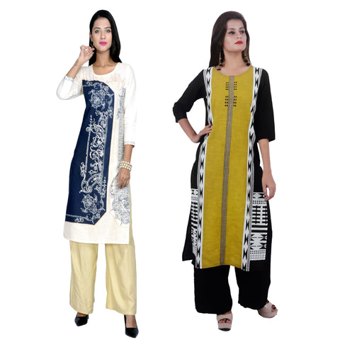 COMBOS-Cotton Stitched Kurtis  - D-23-B-53-Yellow