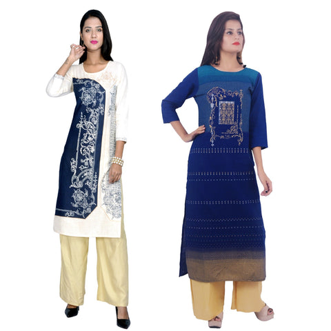 COMBOS-Cotton Stitched Kurtis  - D-23-B-56-Blue