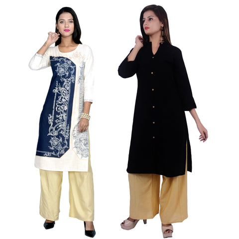 COMBOS-Cotton Stitched Kurtis  - D-23-B-FB-Black
