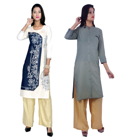 COMBOS-Cotton Stitched Kurtis  - D-23-B-FB-Grey