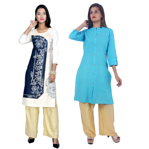 COMBOS-Cotton Stitched Kurtis  - D-23-B-FB-Sky-Blue