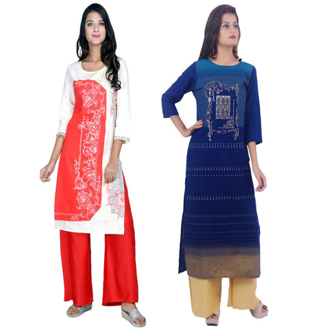 COMBOS-Cotton Stitched Kurtis  - D-23-R-56-Blue