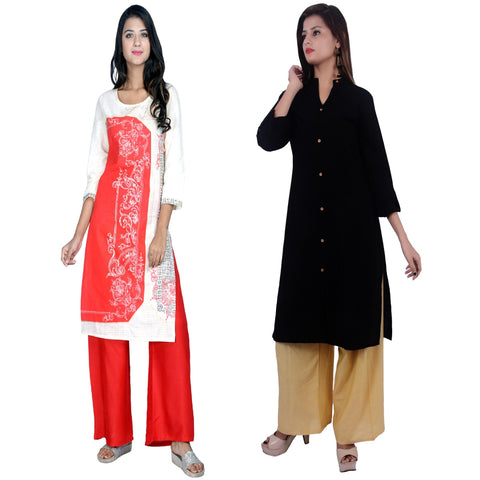 COMBOS-Cotton Stitched Kurtis  - D-23-R-FB-Black