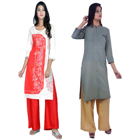 COMBOS-Cotton Stitched Kurtis  - D-23-R-FB-Grey