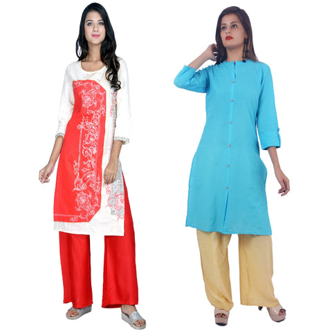 COMBOS-Cotton Stitched Kurtis  - D-23-R-FB-Sky-Blue