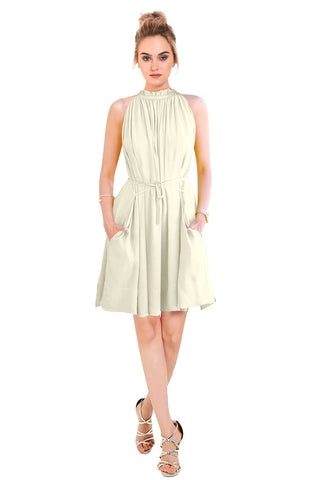 White Color Crepe Women's Dress - D-234_Cruze_White