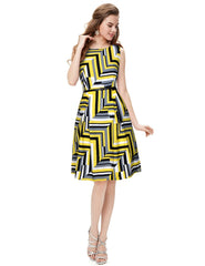 Yellow Color Crepe Women's Dress - D-265_Polo_Yellow