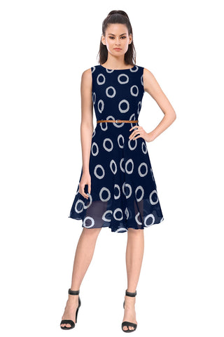 Blue Color Georgette Women's Dress - D-95_Ring_Blue