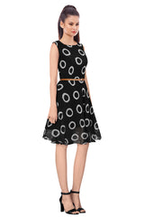 Black Color Georgette Women's Dress - D-96_Ring_Black