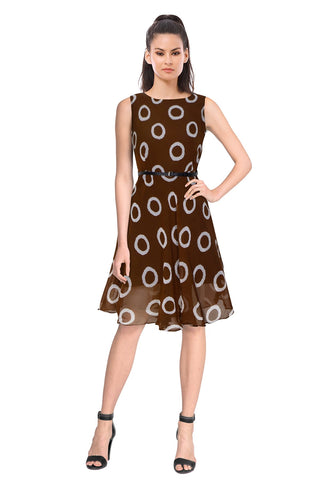 Coffee Color Georgette Women's Dress - D-98_Ring_Coffee