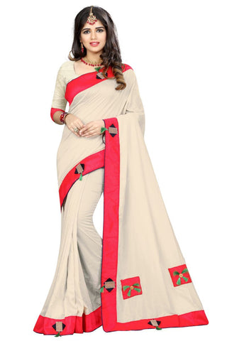 OffWhite Color Vicitra Silk Saree - D-NO-1393