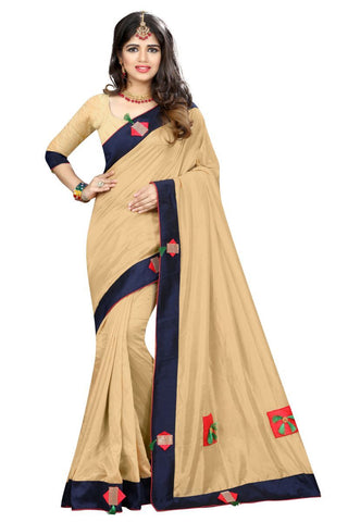 Cream Color Vicitra Silk Saree - D-NO-1395