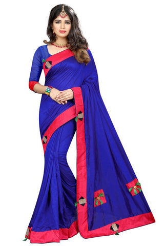 Blue Color Vicitra Silk Saree - D-NO-1397