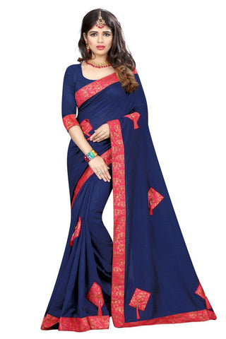 Blue Color Vicitra Silk Saree - D-NO-1399