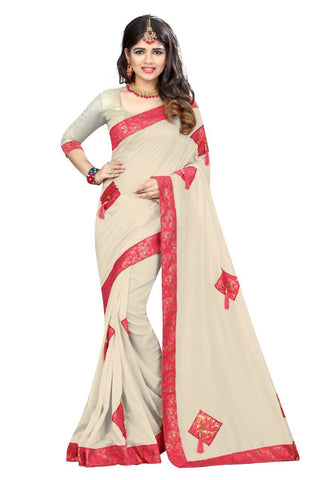 White Color Vicitra Silk Saree - D-NO-1400
