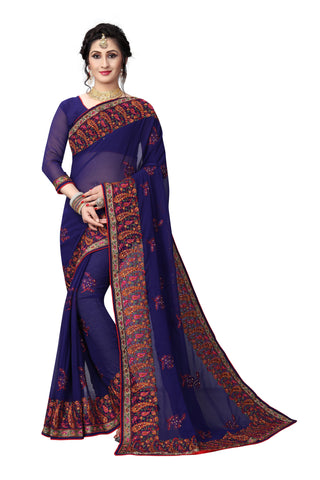 Navy Color Georgette Saree - D-NO-1411