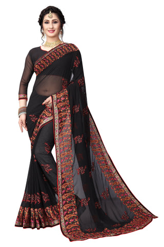 Black Color Georgette Saree - D-NO-1412