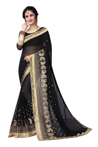 Black Color Georgette Saree - D-NO-1414