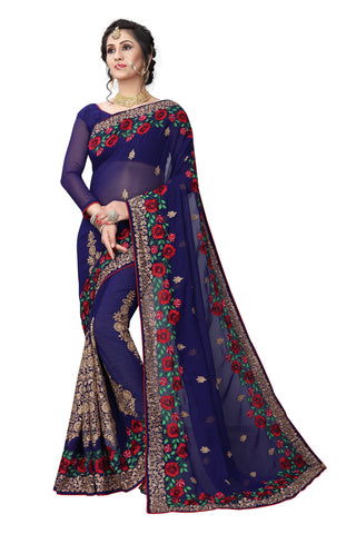 Navy Color Georgette Saree - D-NO-1416
