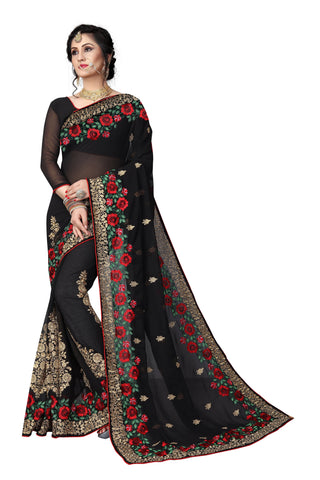 Black Color Georgette Saree - D-NO-1417