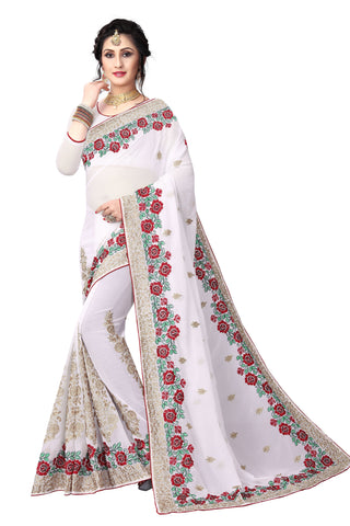 White Color Georgette Saree - D-NO-1418