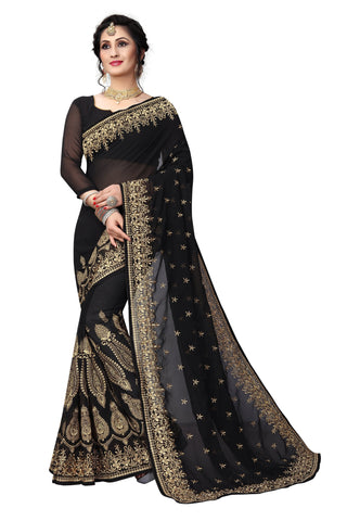Black Color Georgette Saree - D-NO-1420